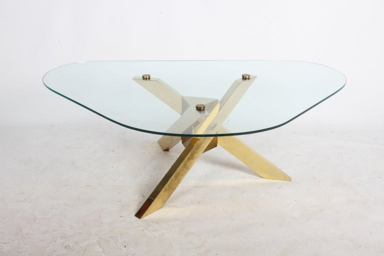 Mid-Century Modern Mid-Century Brass Sculptural Tripod Base with Glass Top, Coffee Table For Sale
