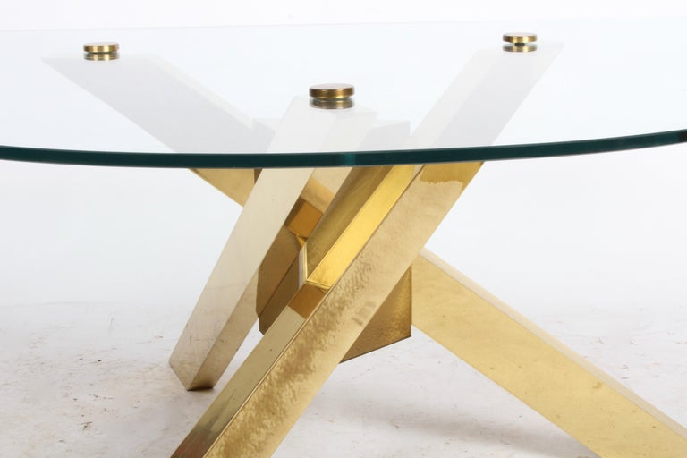 American Mid-Century Brass Sculptural Tripod Base with Glass Top, Coffee Table For Sale
