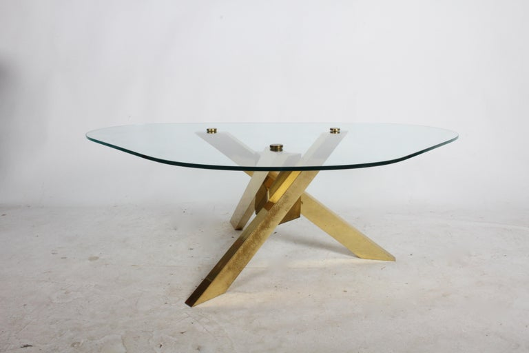 Mid-Century Brass Sculptural Tripod Base with Glass Top, Coffee Table In Good Condition For Sale In St. Louis, MO