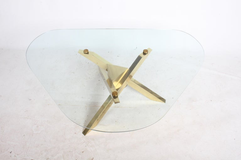 Mid-20th Century Mid-Century Brass Sculptural Tripod Base with Glass Top, Coffee Table For Sale