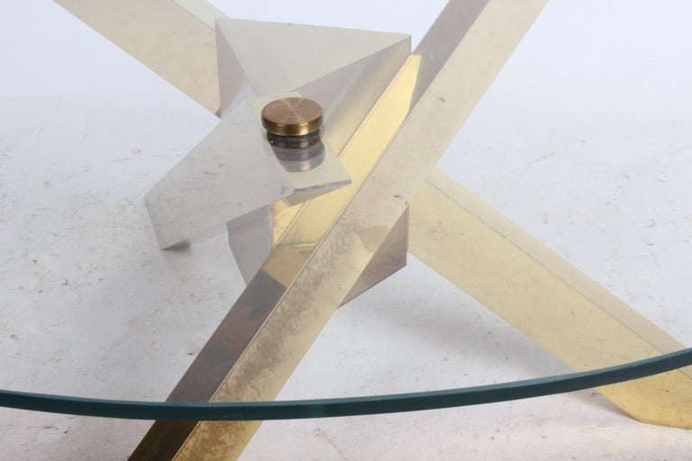 Mid-Century Brass Sculptural Tripod Base with Glass Top, Coffee Table For Sale 1