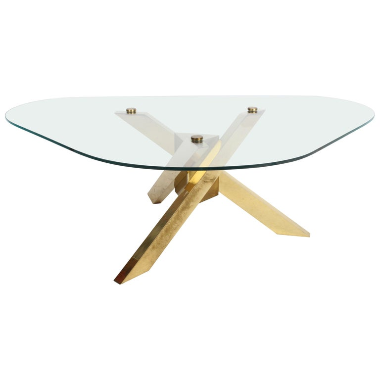 Mid-Century Brass Sculptural Tripod Base with Glass Top, Coffee Table For Sale