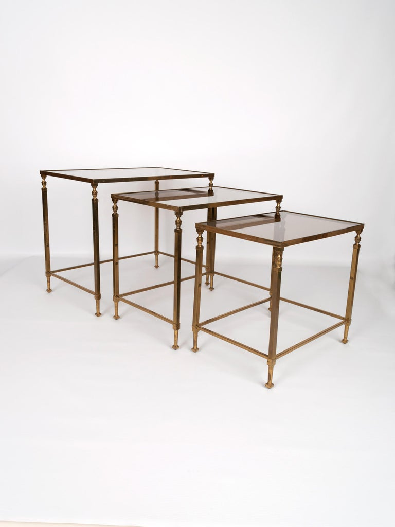 Midcentury Brass and Smoked Glass Nesting Tables by Maison Baguès, France For Sale 4