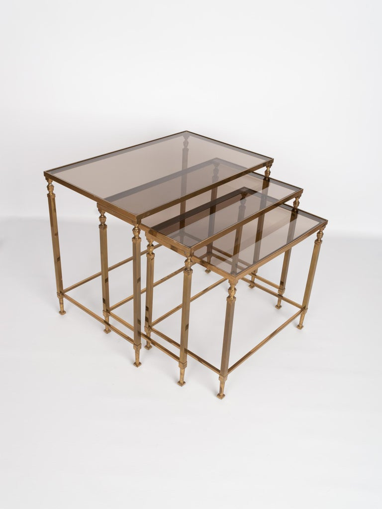 Midcentury Brass and Smoked Glass Nesting Tables by Maison Baguès, France For Sale 5