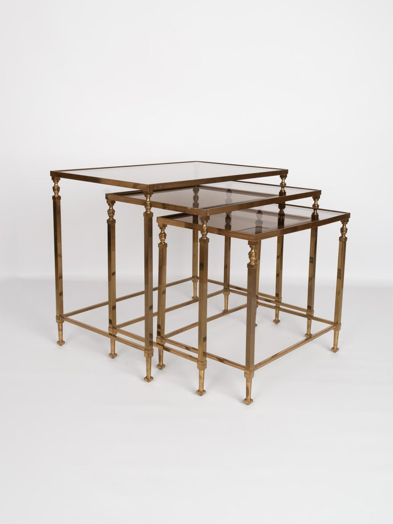 Mid-Century Modern Midcentury Brass and Smoked Glass Nesting Tables by Maison Baguès, France For Sale
