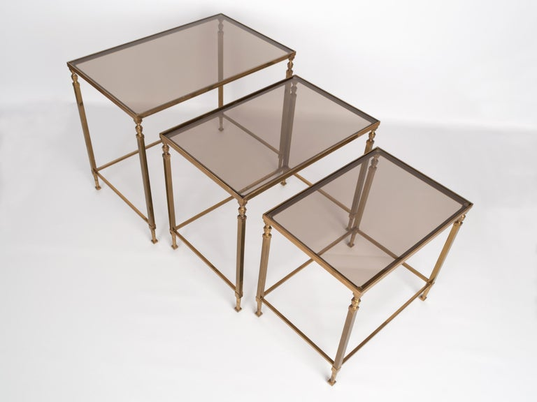 French Midcentury Brass and Smoked Glass Nesting Tables by Maison Baguès, France For Sale