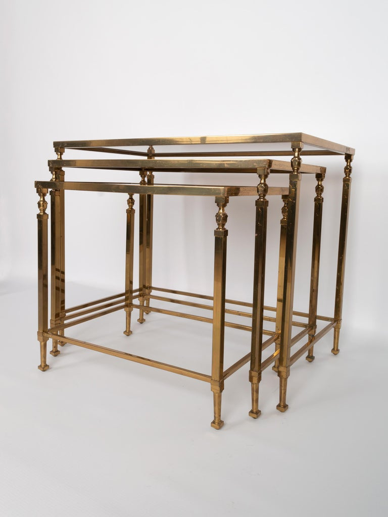 Mid-20th Century Midcentury Brass and Smoked Glass Nesting Tables by Maison Baguès, France For Sale