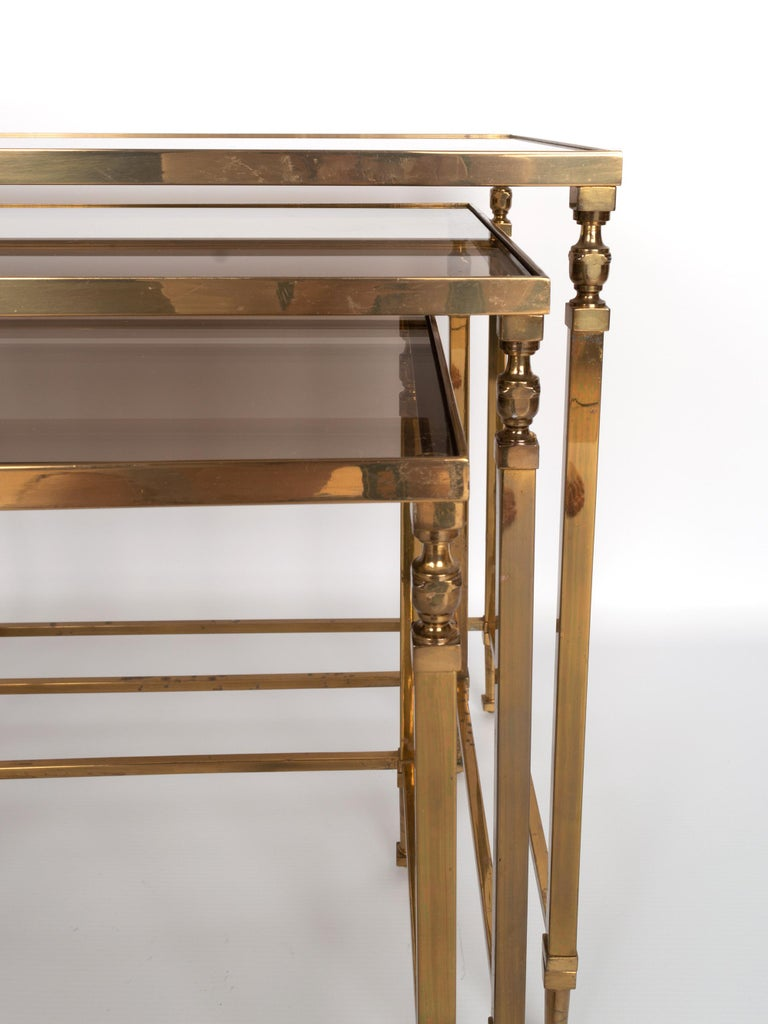 Midcentury Brass and Smoked Glass Nesting Tables by Maison Baguès, France For Sale 1
