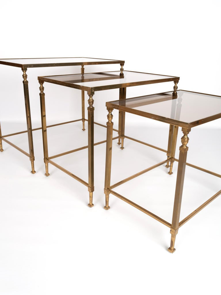 Midcentury Brass and Smoked Glass Nesting Tables by Maison Baguès, France For Sale 2