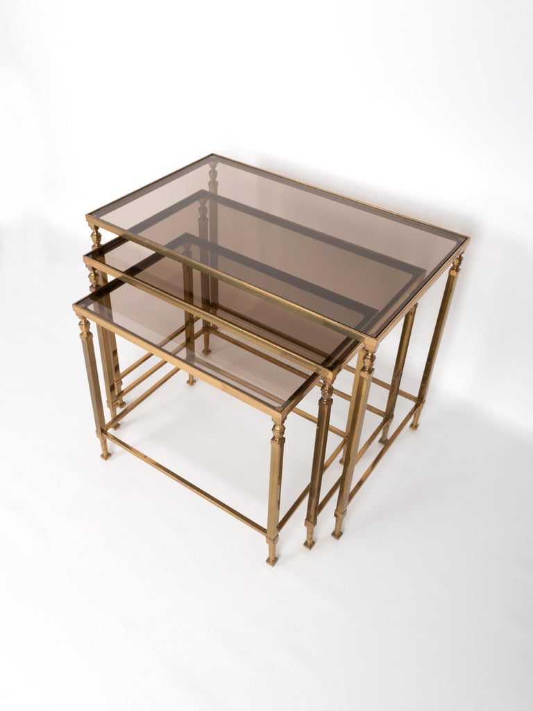 Midcentury Brass and Smoked Glass Nesting Tables by Maison Baguès, France For Sale 3