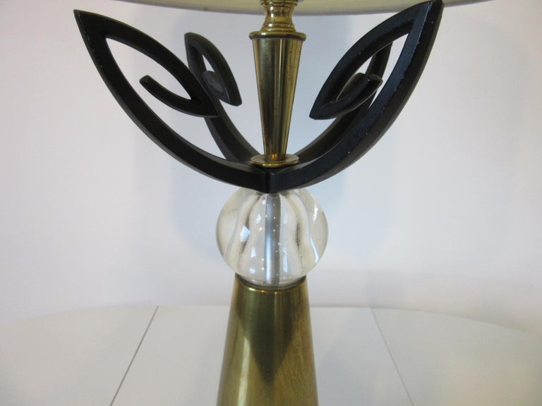 Mid-Century Modern Midcentury Brass Table Lamp / in the Style of Rembrandt, Aurora For Sale