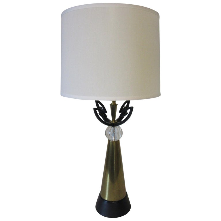 Midcentury Brass Table Lamp / in the Style of Rembrandt, Aurora For Sale