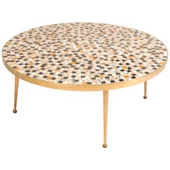 Midcentury Brass Tile Topped Coffee Table