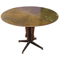 Mid Century Brass Top Round Center Hall Table, Italy