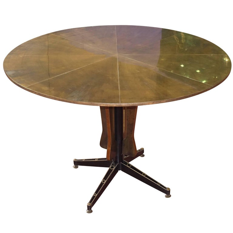 Midcentury Brass Top Round Centre Hall Table, Italy