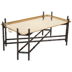 Midcentury Brass Tray on Faux Bamboo Base Coffee Table