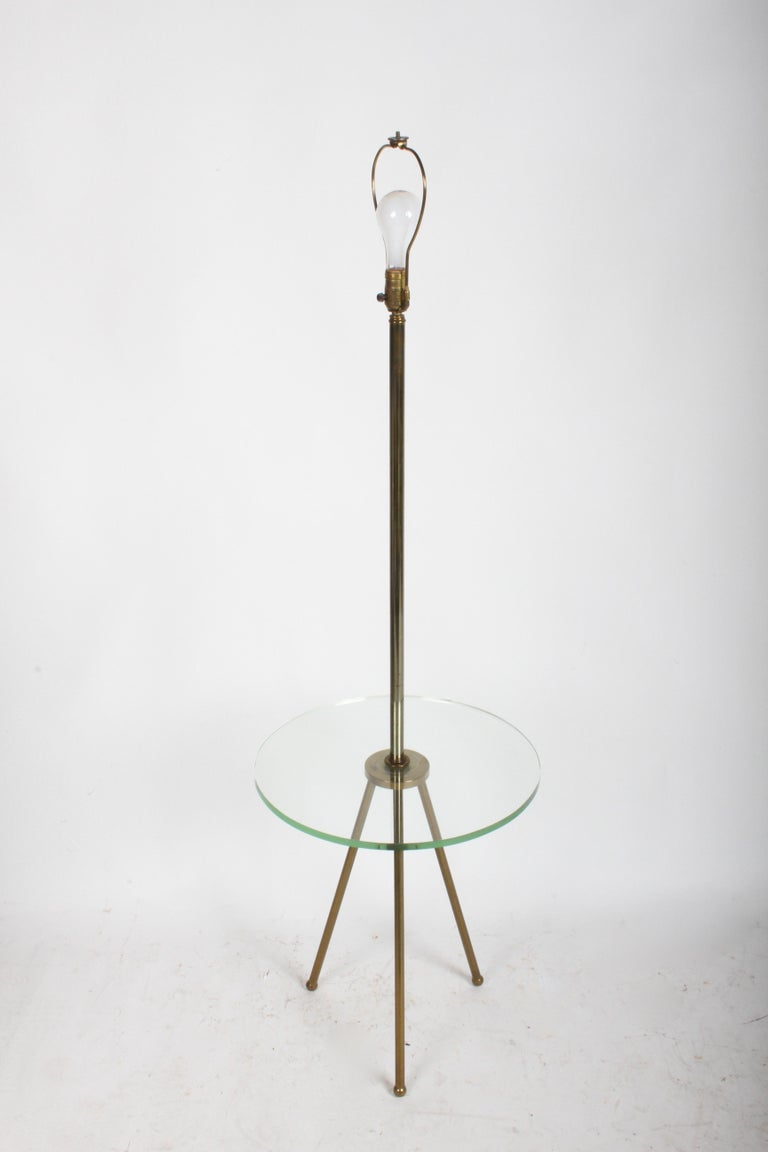 Mid-20th Century Mid-Century Modern Italian Brass Floor Lamp with Tripod Legs and Glass Shelf For Sale