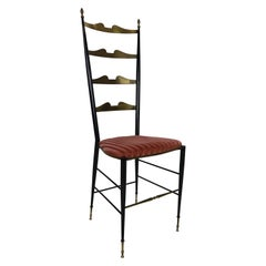 Midcentury Brass and Velvet Tall Ladder Back Side Chair by Chiavari, 1950s Italy