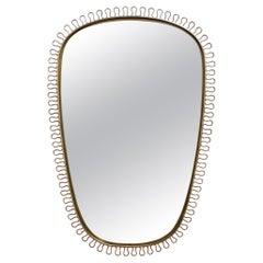 Mid-Century Brass Wall Mirror by Josef Frank, circa 1950s