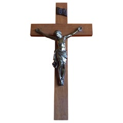Midcentury Brass and Walnut Crucifix