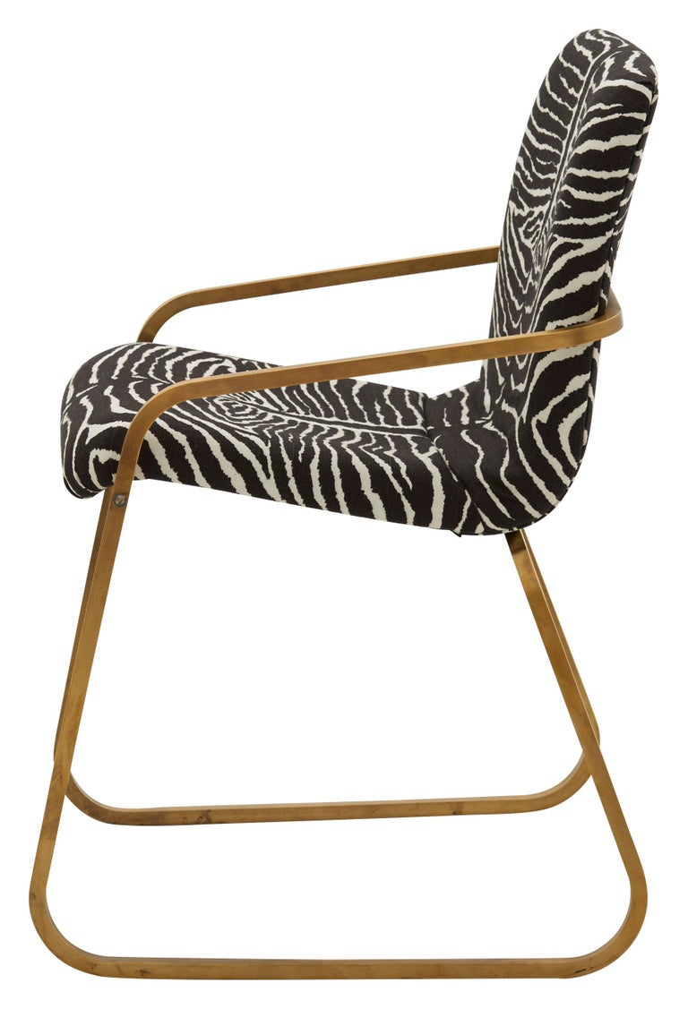 Mid-Century Modern Midcentury Brass Willy Rizzo Dining Chair Upholstered in Zebra Print Linen For Sale