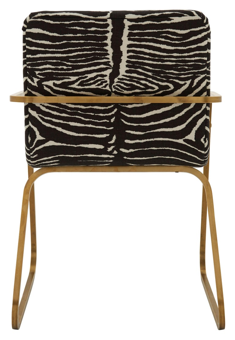 French Midcentury Brass Willy Rizzo Dining Chair Upholstered in Zebra Print Linen For Sale