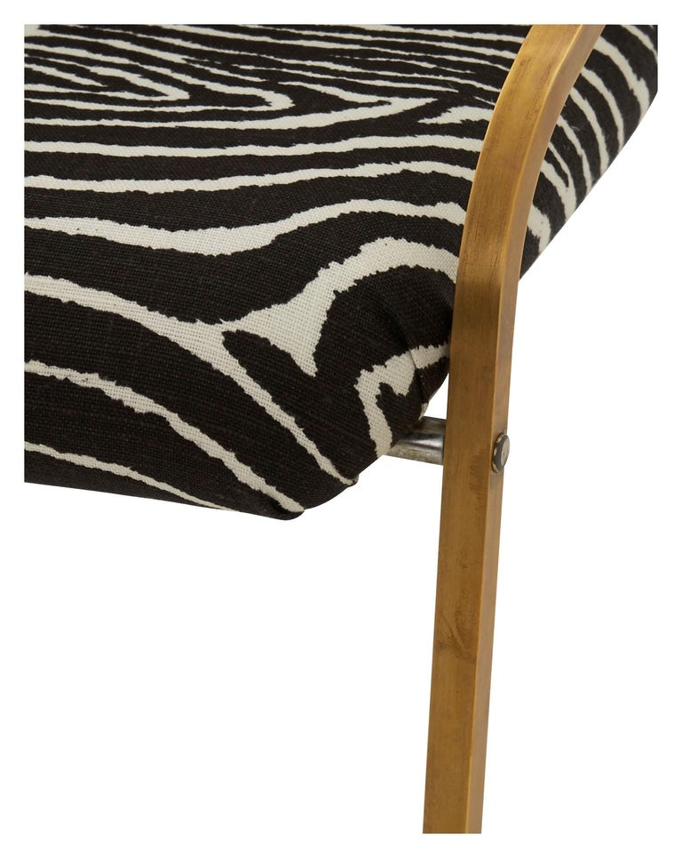 Midcentury Brass Willy Rizzo Dining Chair Upholstered in Zebra Print Linen In Good Condition For Sale In Chicago, IL