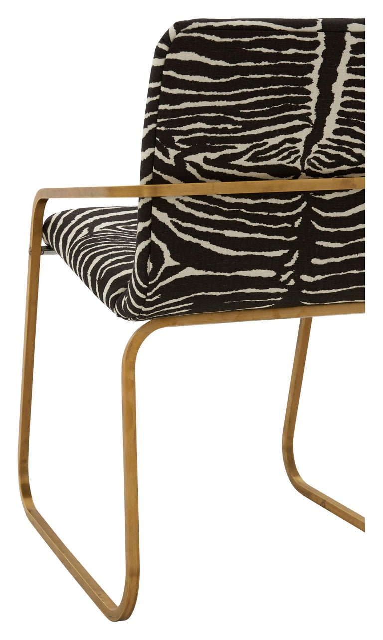 Late 20th Century Midcentury Brass Willy Rizzo Dining Chair Upholstered in Zebra Print Linen For Sale