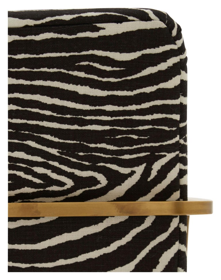 Midcentury Brass Willy Rizzo Dining Chair Upholstered in Zebra Print Linen For Sale 1