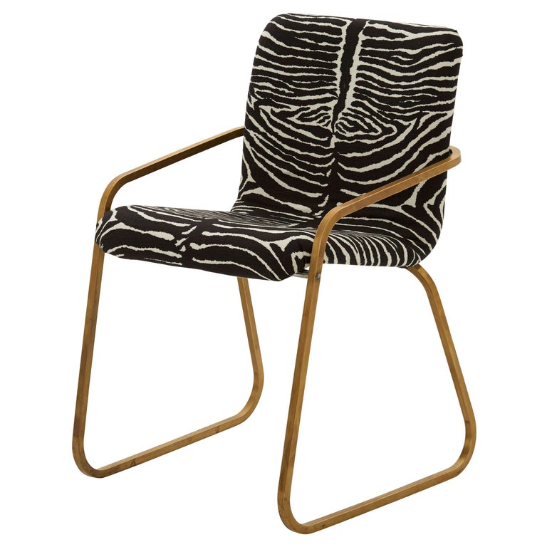 Midcentury Brass Willy Rizzo Dining Chair Upholstered in Zebra Print Linen For Sale