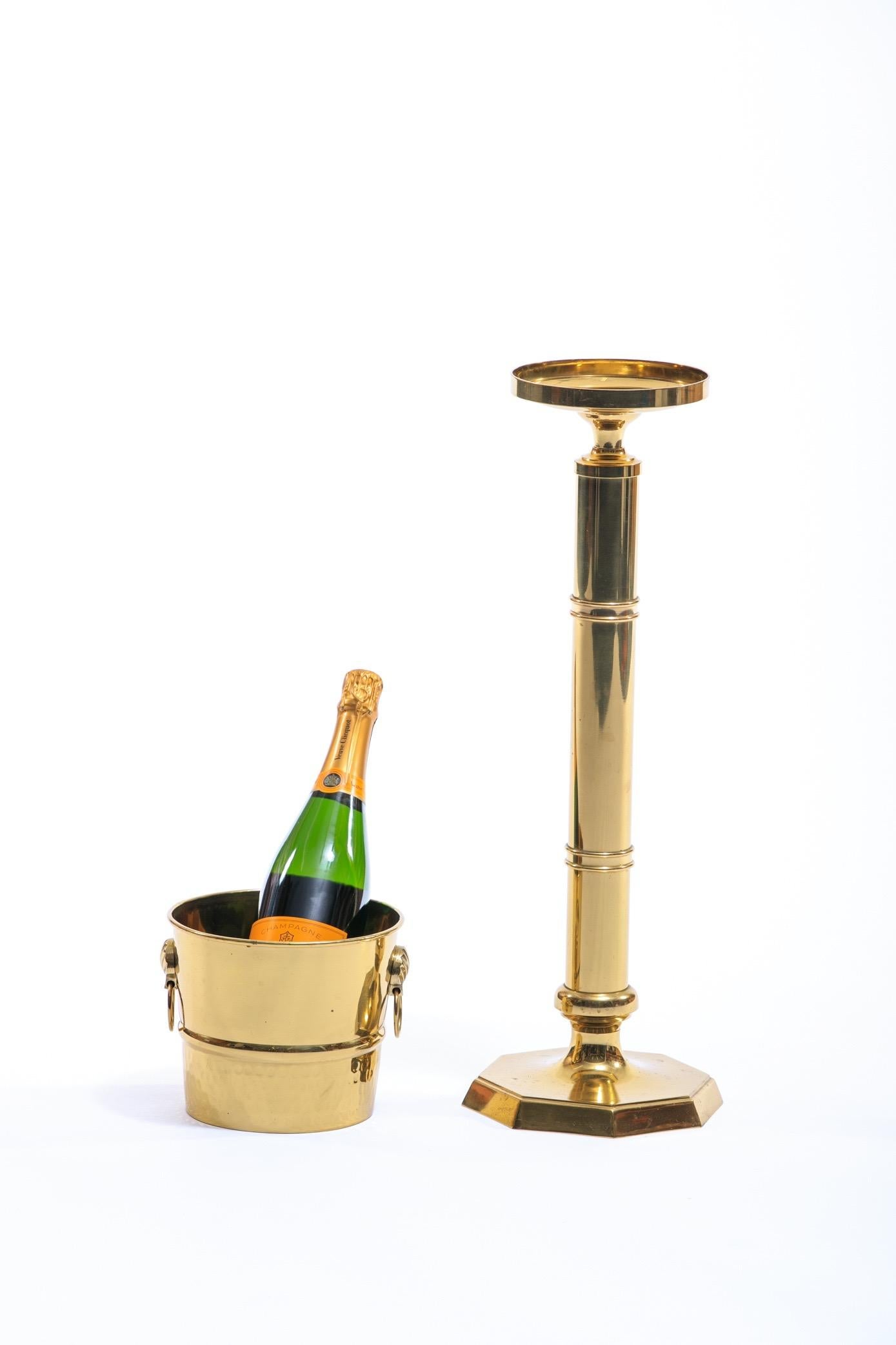 Midcentury Brass Wine Or Champagne Bucket With Stand For Sale At 1stdibs