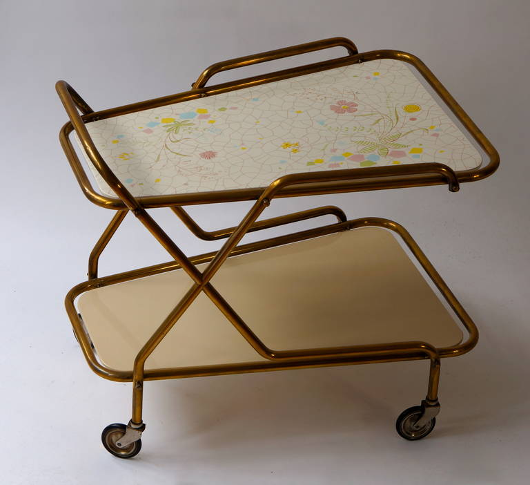 Hollywood Regency Midcentury Brass with Ceramic Hand-Painted Tray Bar Tea Cart For Sale