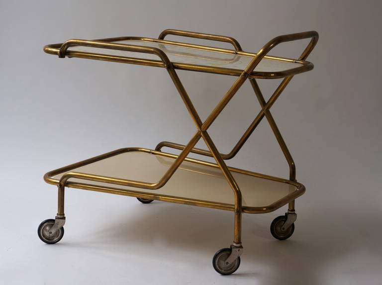 Italian Midcentury Brass with Ceramic Hand-Painted Tray Bar Tea Cart For Sale