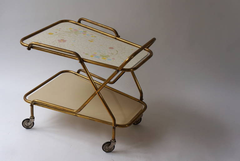 20th Century Midcentury Brass with Ceramic Hand-Painted Tray Bar Tea Cart For Sale