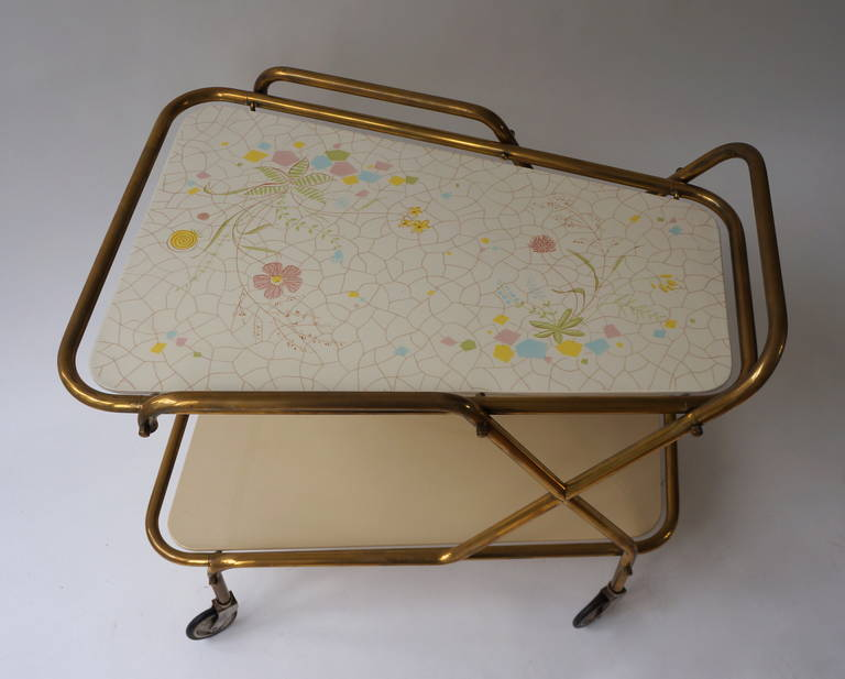Midcentury Brass with Ceramic Hand-Painted Tray Bar Tea Cart For Sale 1