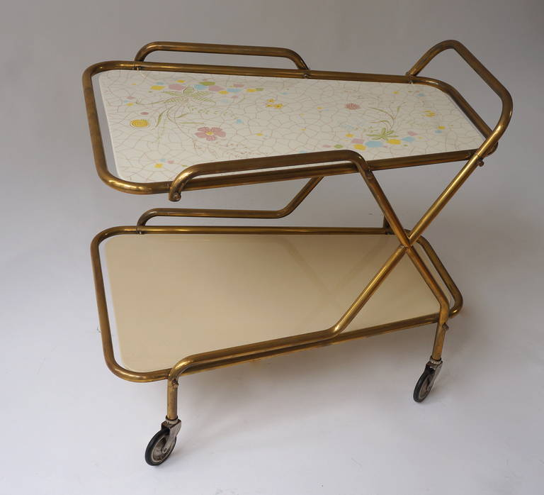 Midcentury Brass with Ceramic Hand-Painted Tray Bar Tea Cart For Sale 2
