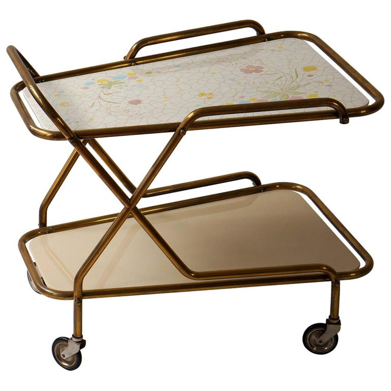Midcentury Brass with Ceramic Hand-Painted Tray Bar Tea Cart For Sale