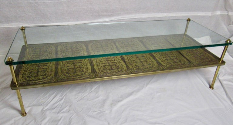 Midcentury Brass Cast Bronze Plaques And Glass Coffee
