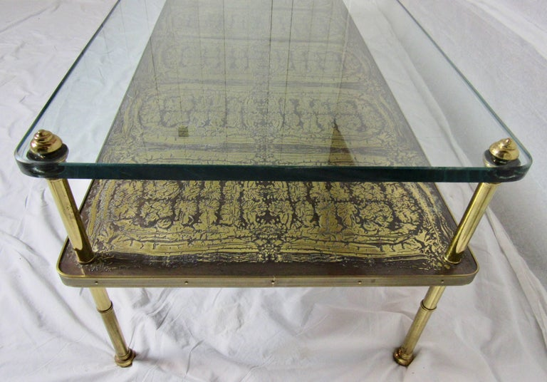 Midcentury Brass Cast Bronze Plaques And Glass Coffee Table Beacon Hill 1960s For