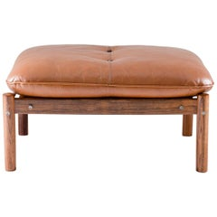 Midcentury Brazilian Ottoman in Brown Leather and Rosewood by Percival Lafer