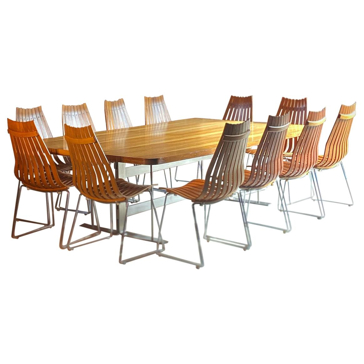 Midcentury Brazilian Rosewood Conference Dining Table and 12 Scandia Chairs