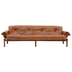 Midcentury Brazilian Sofa in Brown Leather and Rosewood by Percival Lafer