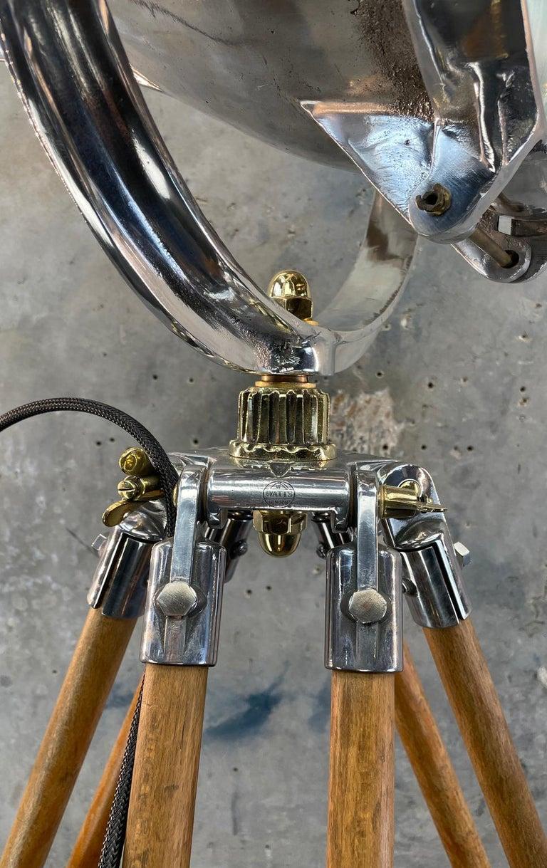 Aluminum Midcentury British Cast Aluminium Industrial Light & Watts Bronze Tripod Tripod For Sale