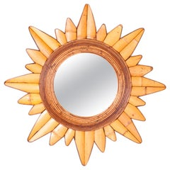 Mid Century British Colonial Bamboo and Reed Sun Burst Wall Mirror