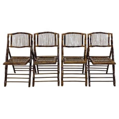 Mid-Century British Colonial Style Bamboo Folding Chairs, Set of Four