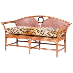 Midcentury British Colonial Style Faux Tortoise Settee or Sofa