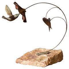 Mid Century Bronze Bijan Hummingbird Sculpture on Stone
