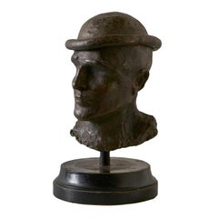 Midcentury Bronze Bust of Male on Wooden Base, Signed by Artist and Stamped