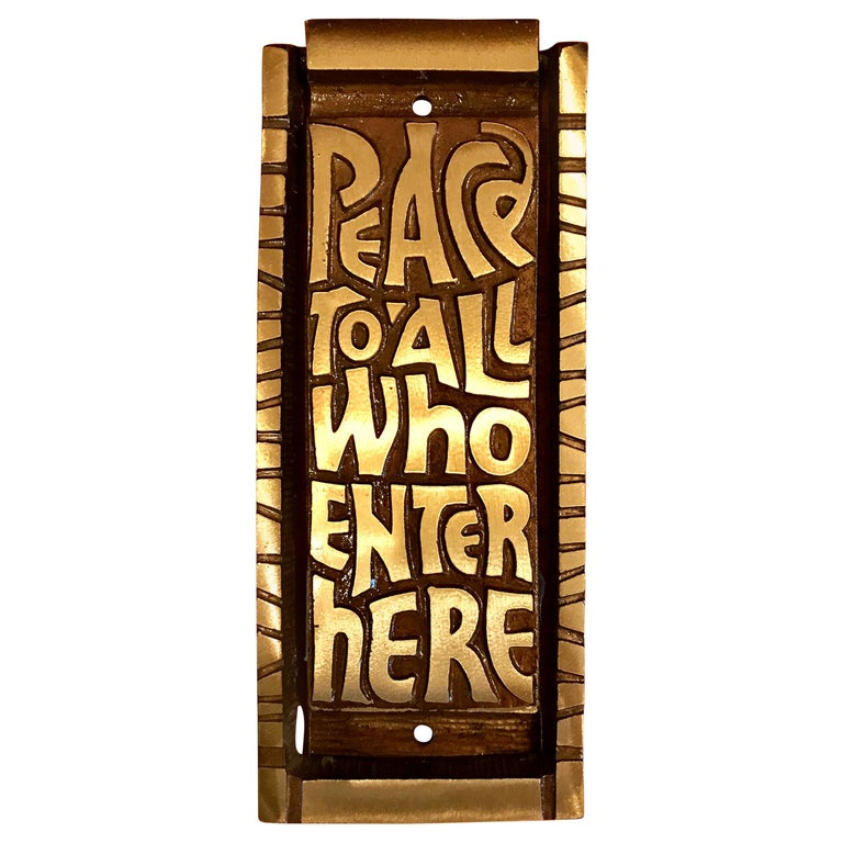 "Mid Century Bronze Door Knocker ""Peace to All Who Enter Here"", 1969 For Sale"