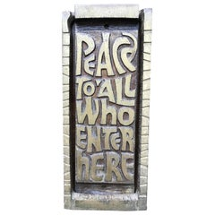 "Mid Century Bronze Door Knocker ""Peace to All Who Enter Here"", 1969"